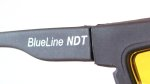 Close-up of BlueLine name on barrier filter glasses